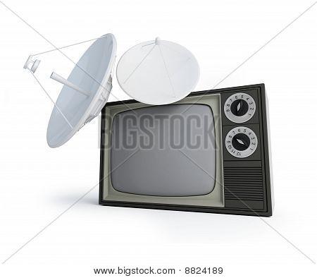 Tv Parabolic Antena Isolated On A White Background