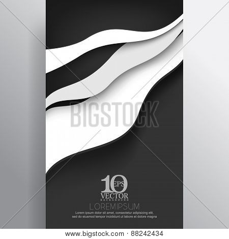 eps10 vector embossed white wave elements business background