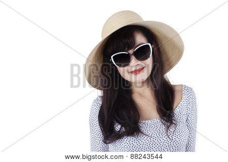 Woman Wearing A Hat In Studio