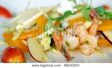 Seafood And Fruits Salad Appitizer Decorate With Flower