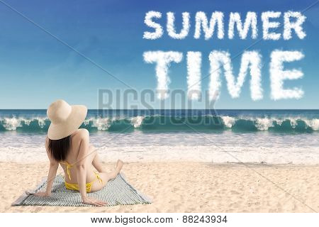 Woman With Summer Time Text At Coast