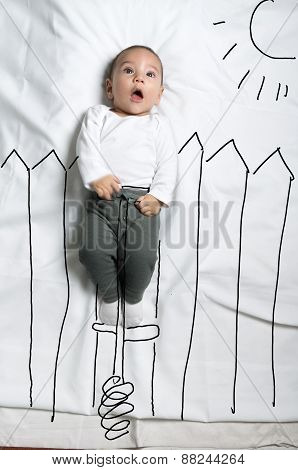 Cute baby boy on pogo stick decoration sketch