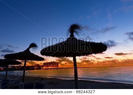 Majorca Sunset in Es Trenc beach in Campos of Mallorca at Balearic islands Spain