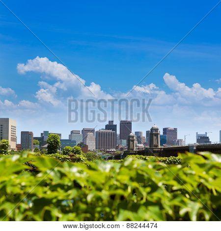 Boston from Longfellow Bridge in Massachusetts USA