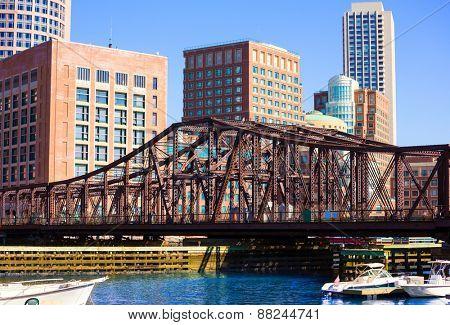 Boston Northern Avenue Bridge in Massachusetts USA