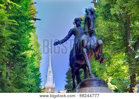 Boston Paul Revere Mall statue and Old North church background Massachusetts