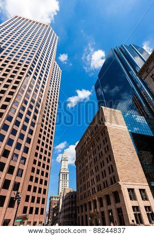 Boston Massachusetts downtown buildings cityscape in USA