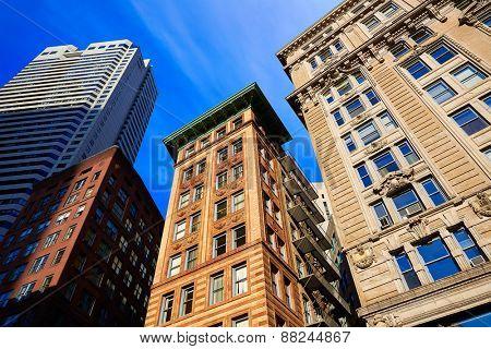 Boston Massachusetts downtown buildings cityscape in USA
