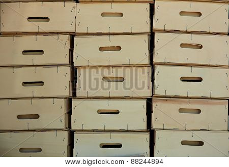 wooden farmer harvest boxes stacked in rows pattern texture