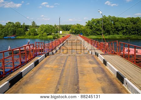floating bridge on the Moskva river on sunny day
