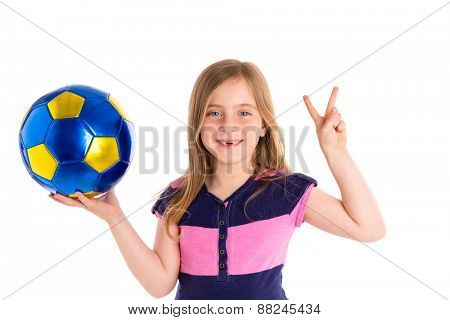Football soccer blond kid girl happy player with ball on white background