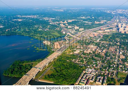Washington DC aerial view in USA United states
