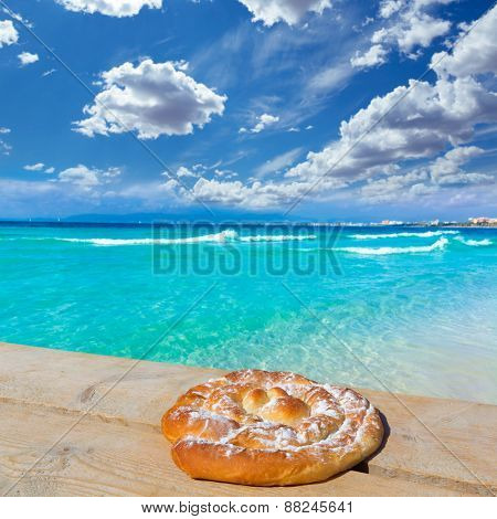 Majorca sArenal arenal beach Platja de Palma Llucmajor in mallorca ensaimada photo mount