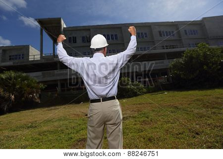 Senior construction worker at a construction site