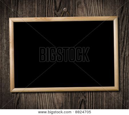 Vintage Picture Frame On Wooden Wall, Clipping Path.