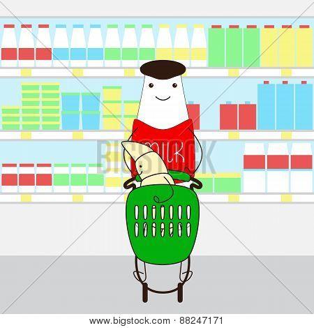 Milk Bottle With Croissant In Supermarket