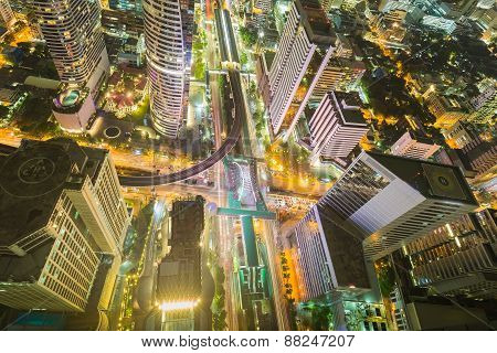 City downtown at night, Bird eyes view of Bangkok