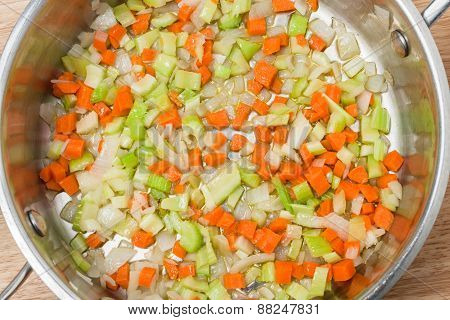 chopped vegetable soup ingredients