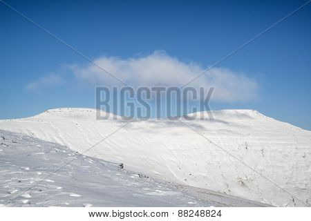 Stunning Blue Sky Mountain Landscape In Winter With Snow Covered Peaks