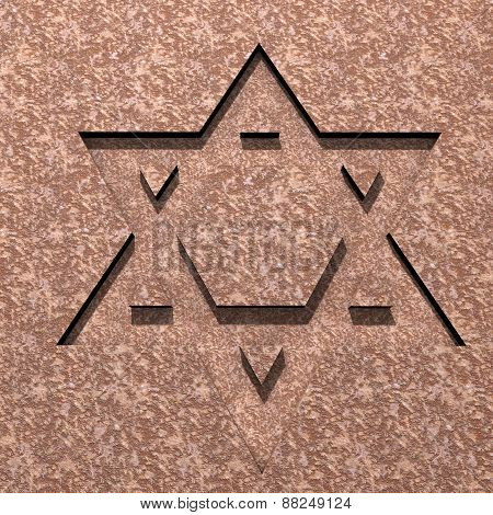 Stylized Image Star Of David Made In Stone