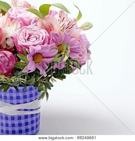 Beautiful Pink Bouquet Of Flowers With Copy Space