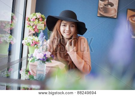 Long Haired Asia Girl Happy Smile Mirror Reflection With Beautiful Flower