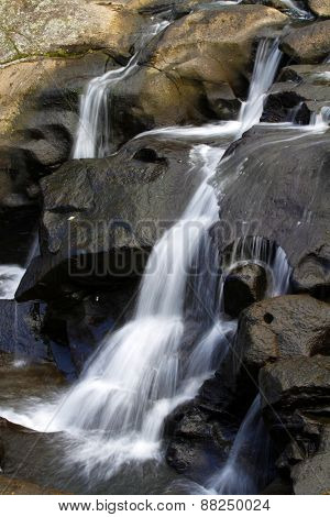 Water flowing down rocks