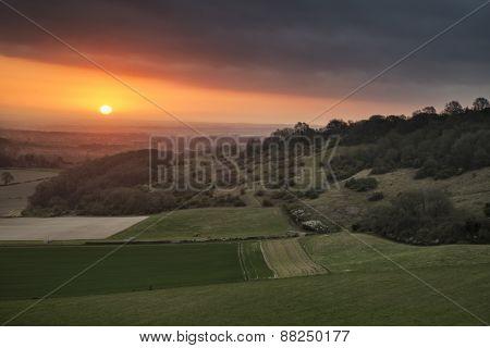 Stunning Vibrant Spring Sunrise Over English Countryside Landscape Escarpment