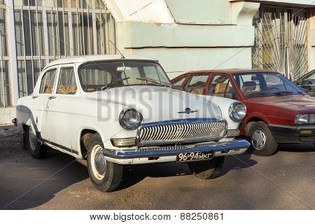 Moscow, Russia - April 11: Old Rusty Soviet Vehicle Volga Parked On The Street On April 11, 2015 In