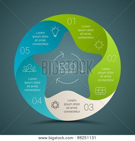 Vector circle eco infographics set. Ecology template for diagram, graph, presentation and chart. Env