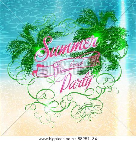 Summer beach Party typographic design