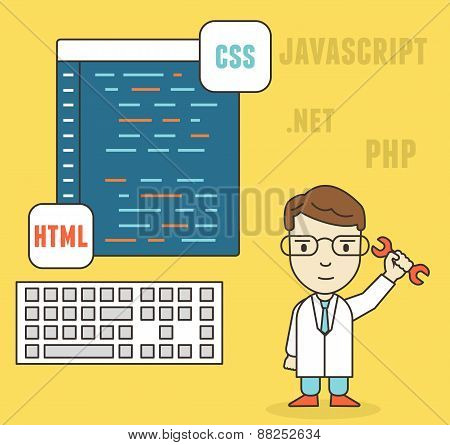 Flat Linear Concept Of Programmer Or Coder Workflow For Website Coding And Html Programming