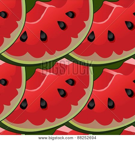 Seamless background with red fresh juicy watermelon slices.