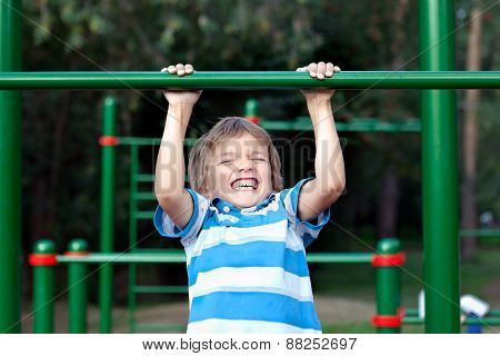 Boy Playing Sports Outdoors