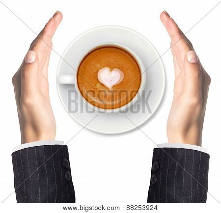 Latte Coffee With Heart Symbol And Woman Hands Isolated On White Background
