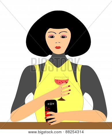 Girl with a glass of wine and a telephone