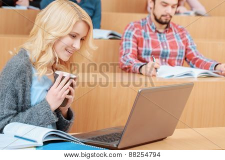 Female student at lecture