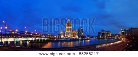 Ukraine Hotel (radisson Royal Hotel) In Night Illumination.