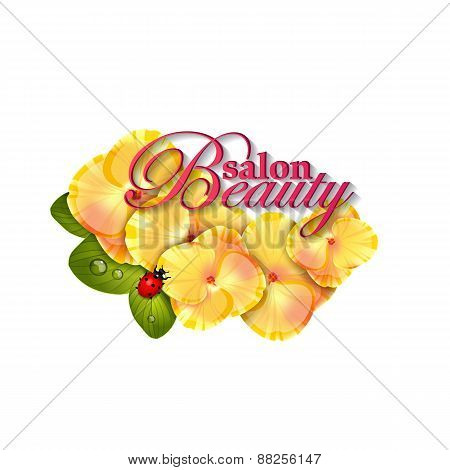 Beauty salon identity naturalistic hydrangea flower with leaves, and ladybug