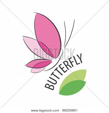 Vector Logo Pink Butterfly And Petals