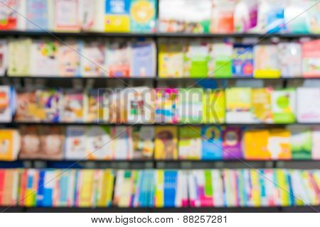 Blurred Background Of Book Store On Shelf
