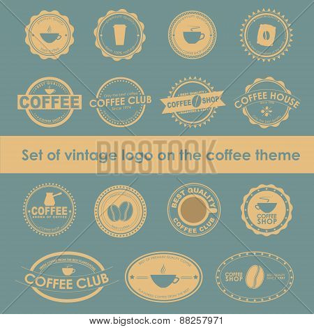 Set Of Vintage Coffee Logos