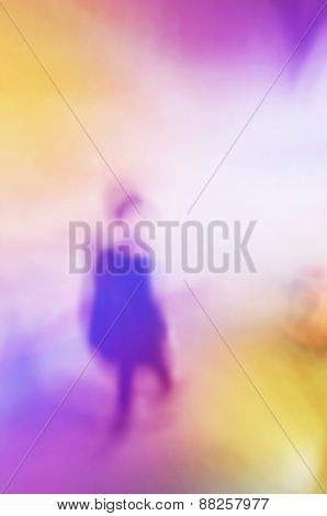 Blurred Abstract Silhouette Of Women Walking Down The Stairs