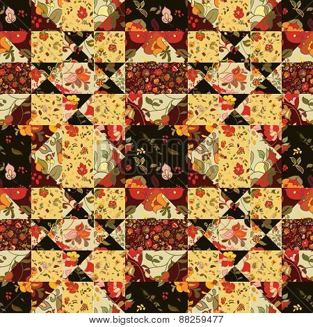 seamless patchwork pattern with flowers. Vintage boho style