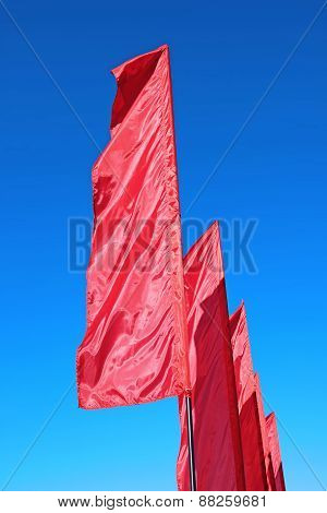 Red Festive Flags During A Holiday