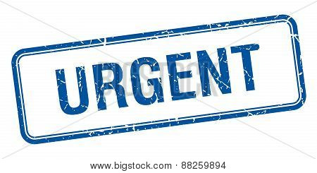 Urgent Blue Square Grungy Vintage Isolated Stamp
