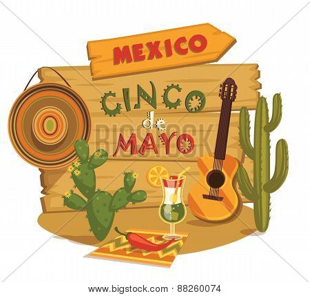 Cinco De Mayo. Vector Illustration.