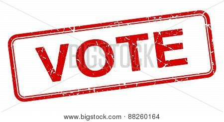 Vote Red Square Grungy Vintage Isolated Stamp