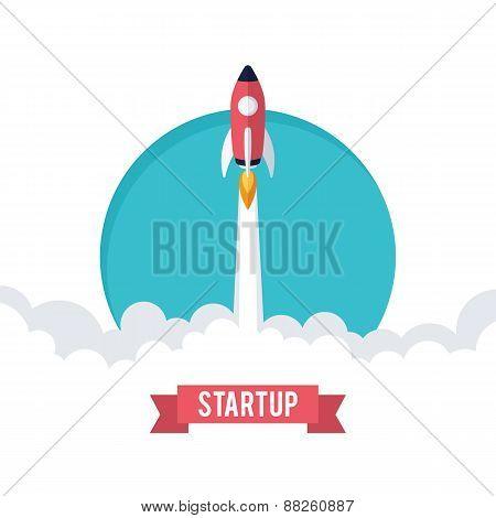 Flat designt business startup launch concept.