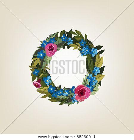 letter. Flower  alphabet. Colorful font. Lowercase.